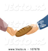 Vector of Rich and Poor Hands Exchanging a Loaf of Bread by BNP Design Studio