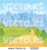 Vector of Road Through a Hilly Park with a City Skyline Background by Amanda Kate