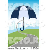 Vector of Roadway Turning into a Hand Holding an Umbrella over a City by Vectorace