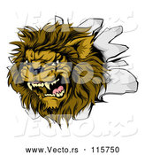 Vector of Roaring Lion Mascot Head Breaking Through a Wall by AtStockIllustration