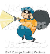 Vector of Robber Running with Flashlight and Stolen Property in Bag by BNP Design Studio