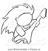 Vector of Rock Guitarist Person - Coloring Page Outlined Art by Leo Blanchette