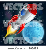 Vector of Rocket Ship over a Full Moon by AtStockIllustration