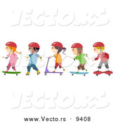 Vector of Roller Blading Scooter and Skateboarding Children by BNP Design Studio