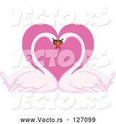 Vector of Romantic Swan Pair with Their Heads Together over a Pink Heart by Yayayoyo