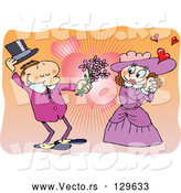 Vector of Romantic Victorian Couple in Love, the Guy Taking off His Hand and Giving Flowers to the Lady, over a Heart Background by Gnurf