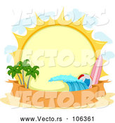 Vector of Round Summer Sun with a Surfboard, Beach Ball, Wave, and Palm Trees over a Banner by BNP Design Studio
