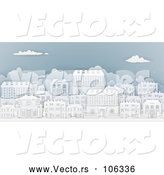 Vector of Row of Paper Cut Styled Georgian or Victorian Houses in a Neighborhood, on Blue by AtStockIllustration