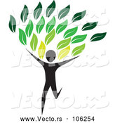 Vector of Running Person with Green Leaves by ColorMagic