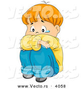 Vector of Sad Cartoon Boy Crying While Seated on Ground or Floor by BNP Design Studio