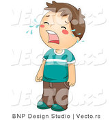 Vector of Sad Cartoon Boy Standing and Crying by BNP Design Studio