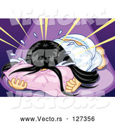 Vector of Sad Girl Throwing Her Face into a Pillow and Crying by Mayawizard101