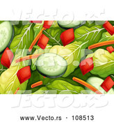 Vector of Salad with Spinach, Cucumbers, Carrots and Bell Peppers by Graphics RF