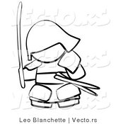Vector of Samurai with Weapons - Coloring Page Outlined Art by Leo Blanchette