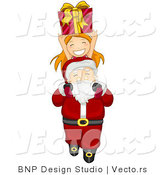 Vector of Santa Carrying a Happy Girl and Present over His Head by BNP Design Studio
