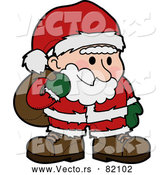 Vector of Santa Claus Carrying a Sack of Toys over His Shoulder by AtStockIllustration
