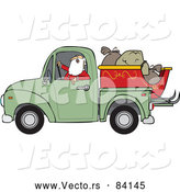 Vector of Santa Claus Driving Pickup with Sleigh by Djart