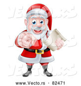 Vector of Santa Claus Holding a List and Pointing Finger by AtStockIllustration
