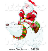Vector of Santa Claus Riding Polar Bear by Pushkin