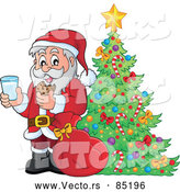 Vector of Santa Enjoying Milk and Cookies Beside a Pretty Christmas Tree by Visekart