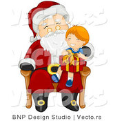 Vector of Santa Giving Present to Happy Boy Sitting on His Lap by BNP Design Studio