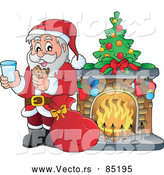 Vector of Santa Having Milk with Cookies Beside a Toasty Fireplace by Visekart