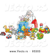 Vector of Santa Putting Toys in a Sack by Alex Bannykh