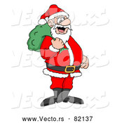 Vector of Santa Smiling with Toy Sack over His Shoulder by LaffToon