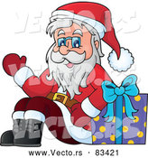 Vector of Santa Waving Hello with Present by Visekart