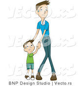 Vector of Scared Son and Father Holding Hands by BNP Design Studio