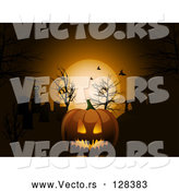 Vector of Scary Halloween Pumpkin Against an Orange Moon and Bats in the Night Sky by Elaineitalia