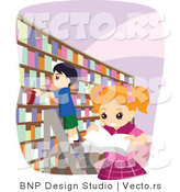Vector of School Girl and Boy Looking at Books at a Library by BNP Design Studio