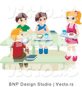 Vector of School Kids Eating Hot Lunch in a Cafeteria by BNP Design Studio