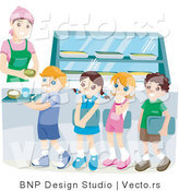 Vector of School Kids Waiting in Line for Lunch in a Cafeteria by BNP Design Studio