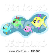 Vector of Schooling Group of Blue, Green, Pink and Yellow Fish Swimming by