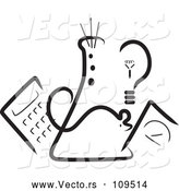 Vector of Science Beaker, Mouse, Light Bulb, Scale and Calculator - Black Lineart by Maria Bell