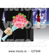 Vector of Secretive Gentleman with Surprise Roses Behind His Back While Walking Towards a Lady by Mayawizard101