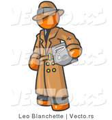 Vector of Secretive Orange Guy in a Trench Coat and Hat, Carrying a Box with a Question Mark on It by Leo Blanchette
