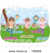 Vector of Senior Citizens Doing Yoga in a Studio by BNP Design Studio