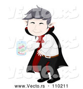 Vector of Senior Vampire Man Cleaning His False Teeth in a Jar by BNP Design Studio