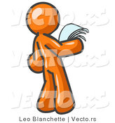 Vector of Serious Orange Guy Reading Papers and Documents by Leo Blanchette