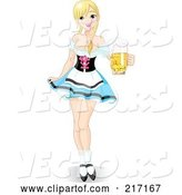 Vector of Sexy Oktoberfest Maiden in a Short Skirt, Serving Beer by Pushkin