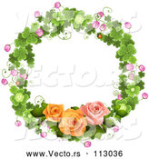 Vector of Shamrock Wreath with Blossoms and Roses by Merlinul