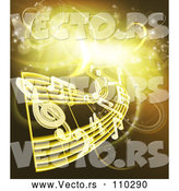 Vector of Sheet Music and Notes over Gold and Yellow Neon Lights by AtStockIllustration