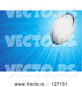 Vector of Shining Sparkly Blue Background with a Rugby Ball by Elaineitalia