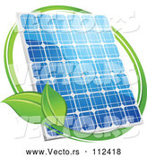 Vector of Shiny Blue Solar Panel with a Circle of Green Leaves by Vector Tradition SM