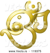 Vector of Shiny Reflective Gold Om or Aum Hinduism Symbol by Lal Perera