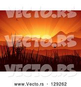 Vector of Silhouetted Birds and Butterflies Flying Above Grasses and Mountains Against a Bursting Orange Sunset Sky by Elaineitalia