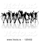 Vector of Silhouetted Black Dancers and Reflections on White by KJ Pargeter