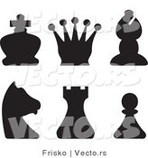 Vector of Silhouetted Chess Pieces by Frisko